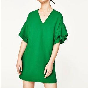 ZARA Green ruffle sleeve dress